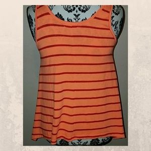 Tops - orange striped tank or sleeveless top small